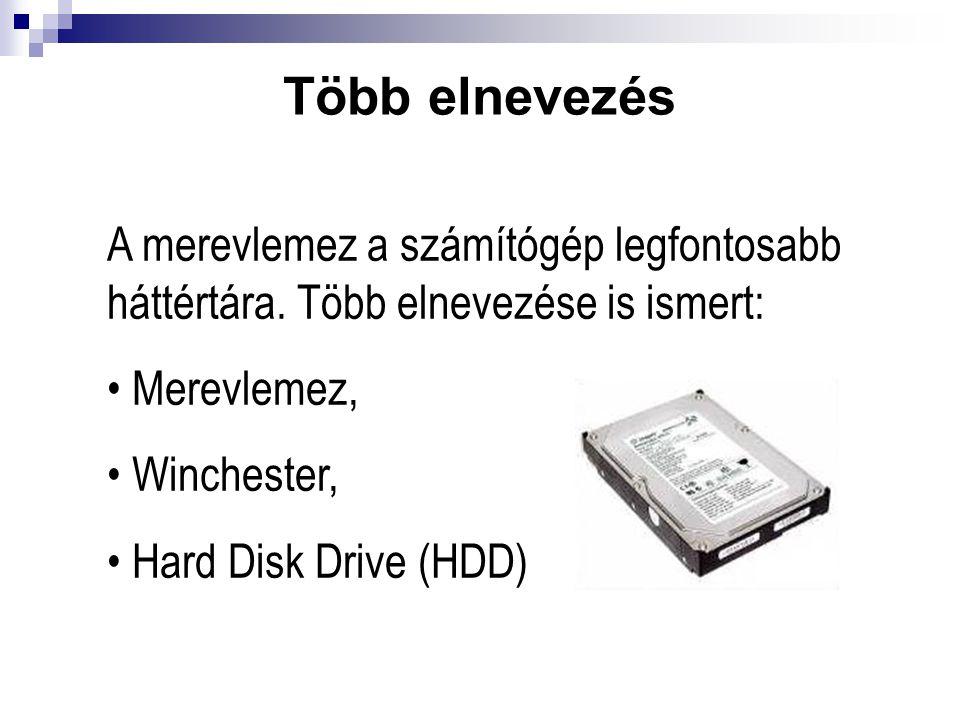 Több elnevezés A merevlemez a számítógép legfontosabb háttértára. Több elnevezése is ismert: Merevlemez, Winchester, Hard Disk Drive (HDD)