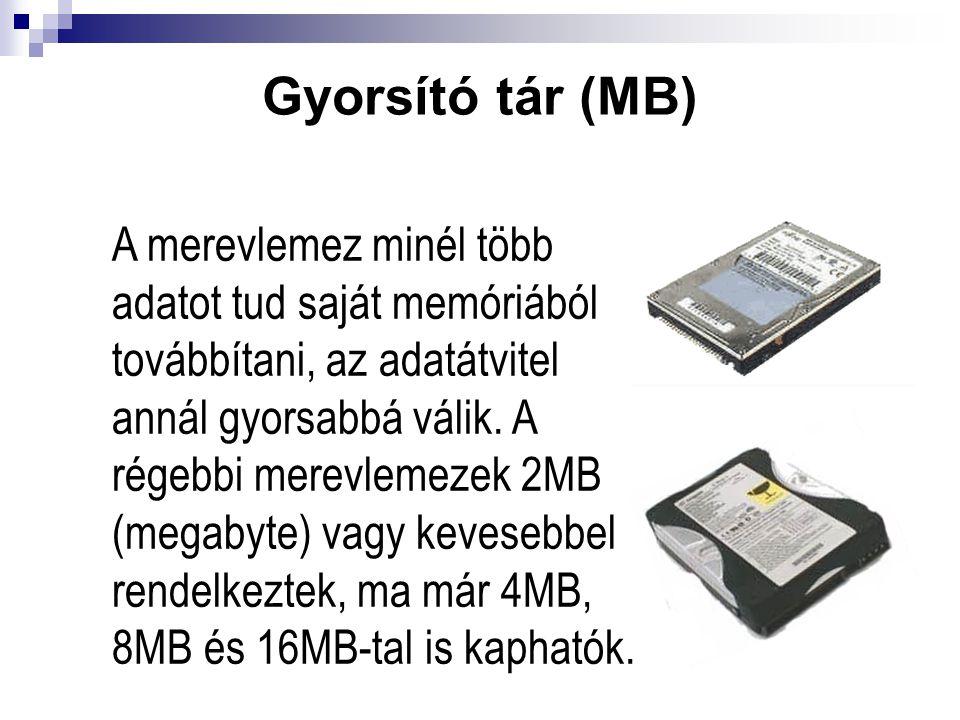 Gyorsító tár (MB) A merevlemez minél több adatot tud saját memóriából továbbítani, az adatátvitel annál gyorsabbá válik. A régebbi merevlemezek 2MB (m