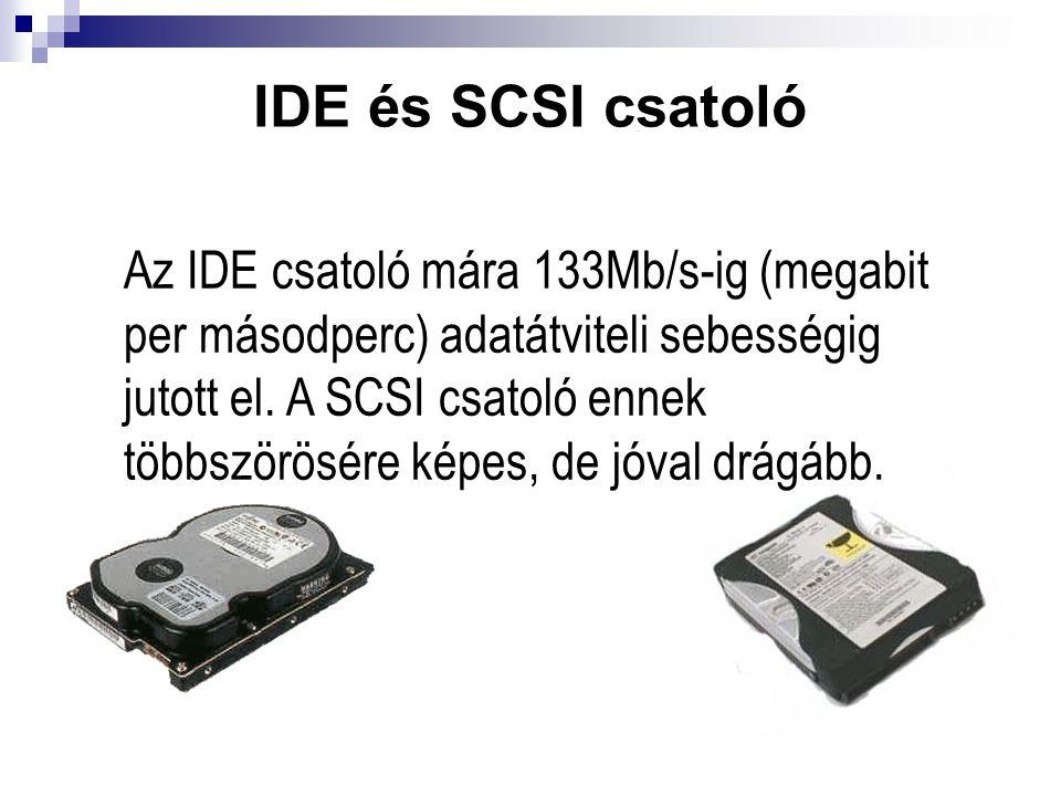 IDE és SCSI csatoló Az IDE csatoló mára 133Mb/s-ig (megabit per másodperc) adatátviteli sebességig jutott el. A SCSI csatoló ennek többszörösére képes