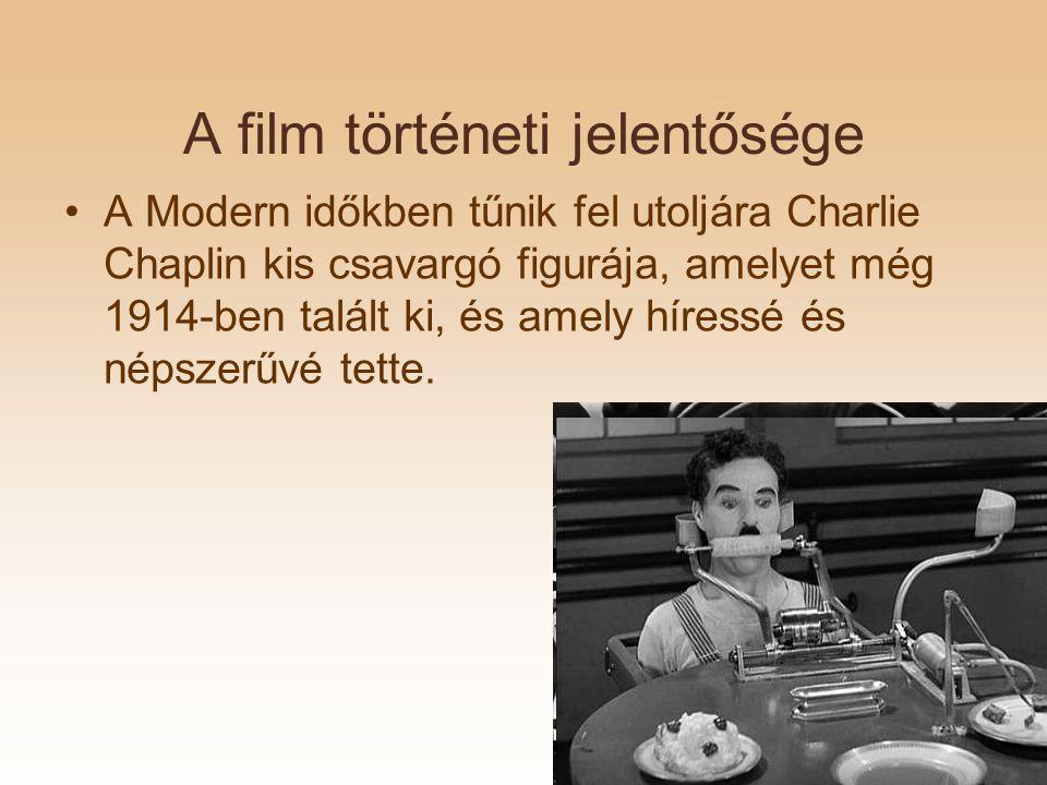 A film történeti jelentősége A Modern időkben tűnik fel utoljára Charlie Chaplin kis csavargó figurája, amelyet még 1914-ben talált ki, és amely híressé és népszerűvé tette.