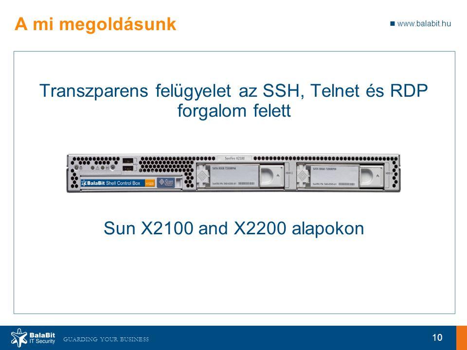 www.balabit.hu GUARDING YOUR BUSINESS A mi megoldásunk Transzparens felügyelet az SSH, Telnet és RDP forgalom felett Sun X2100 and X2200 alapokon 10
