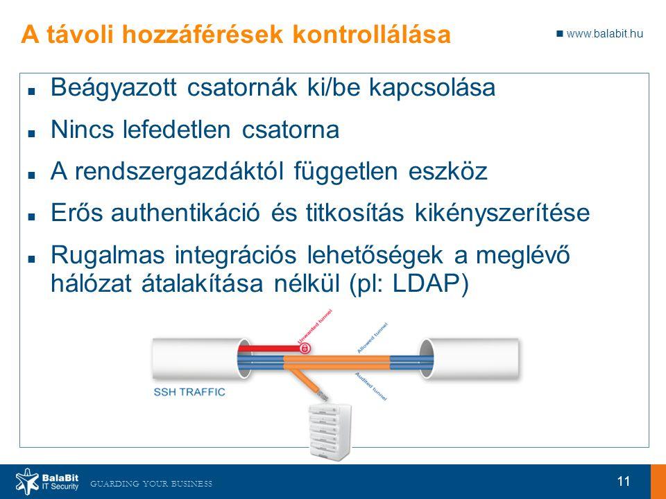 www.balabit.hu GUARDING YOUR BUSINESS A távoli hozzáférések kontrollálása Beágyazott csatornák ki/be kapcsolása Nincs lefedetlen csatorna A rendszergazdáktól független eszköz Erős authentikáció és titkosítás kikényszerítése Rugalmas integrációs lehetőségek a meglévő hálózat átalakítása nélkül (pl: LDAP) 11