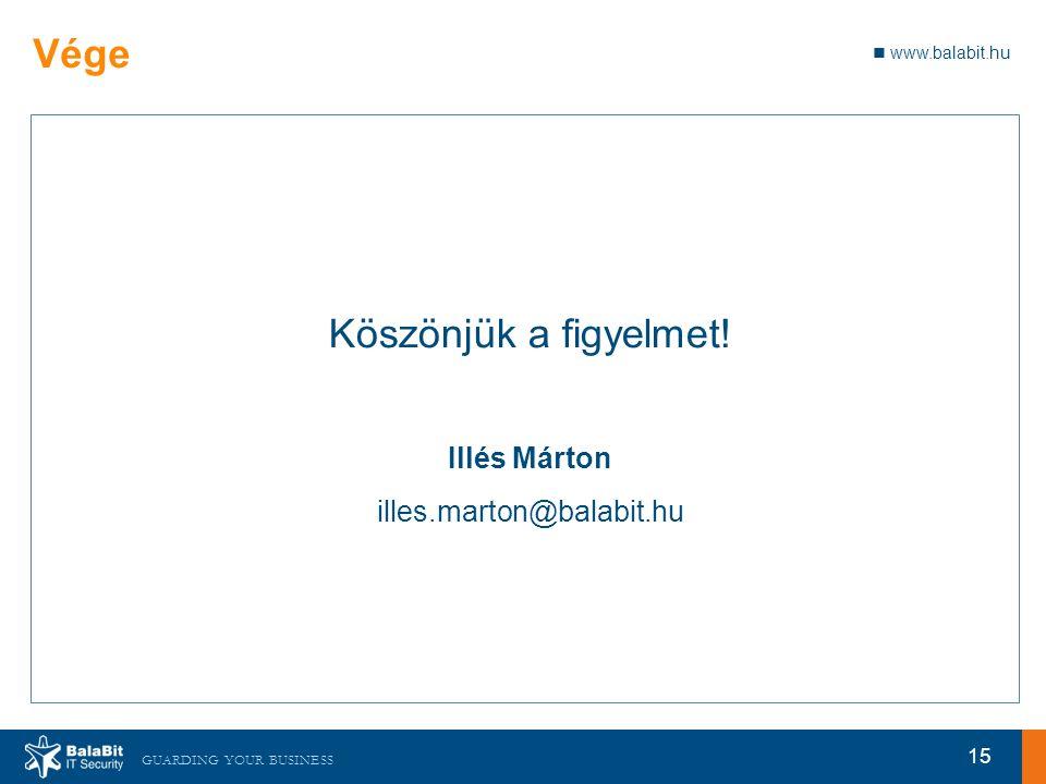 www.balabit.hu GUARDING YOUR BUSINESS Vége Köszönjük a figyelmet.