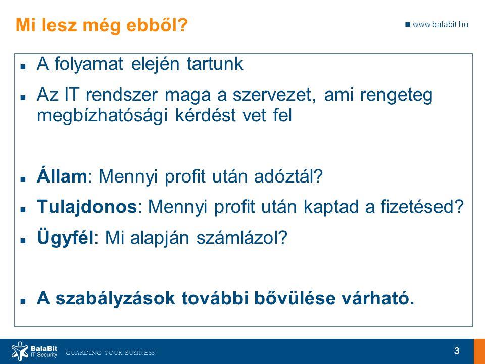 www.balabit.hu GUARDING YOUR BUSINESS Mi lesz még ebből? A folyamat elején tartunk Az IT rendszer maga a szervezet, ami rengeteg megbízhatósági kérdés