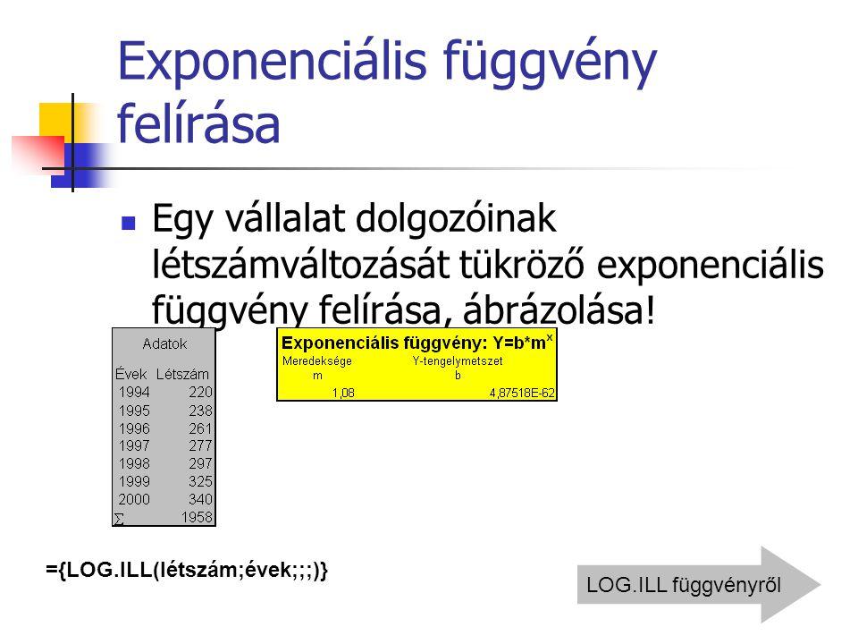 Exponenciális függvény felírása Egy vállalat dolgozóinak létszámváltozását tükröző exponenciális függvény felírása, ábrázolása! ={LOG.ILL(létszám;évek