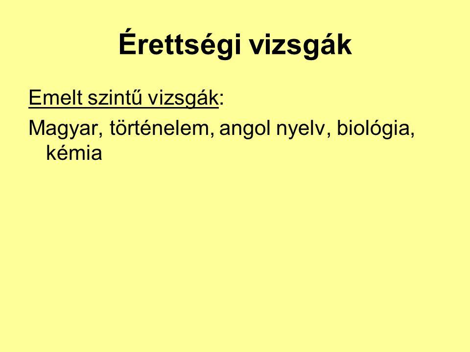 Érettségi vizsgák Emelt szintű vizsgák: Magyar, történelem, angol nyelv, biológia, kémia