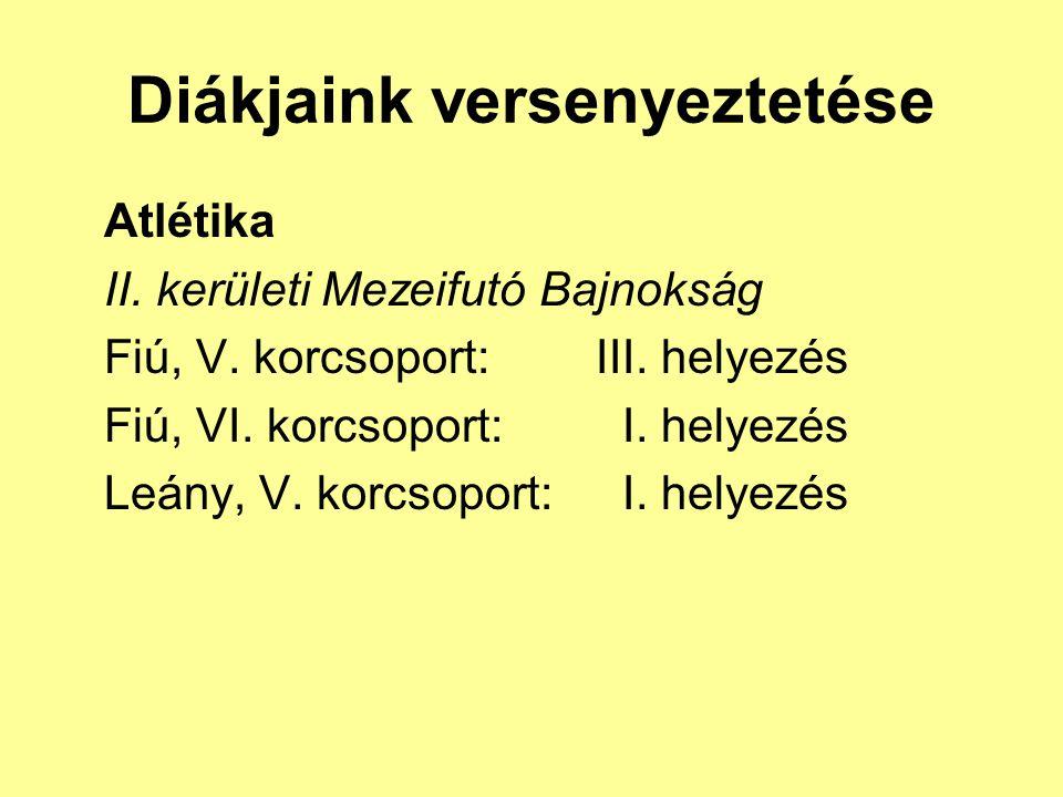 Diákjaink versenyeztetése Atlétika II. kerületi Mezeifutó Bajnokság Fiú, V. korcsoport: III. helyezés Fiú, VI. korcsoport: I. helyezés Leány, V. korcs