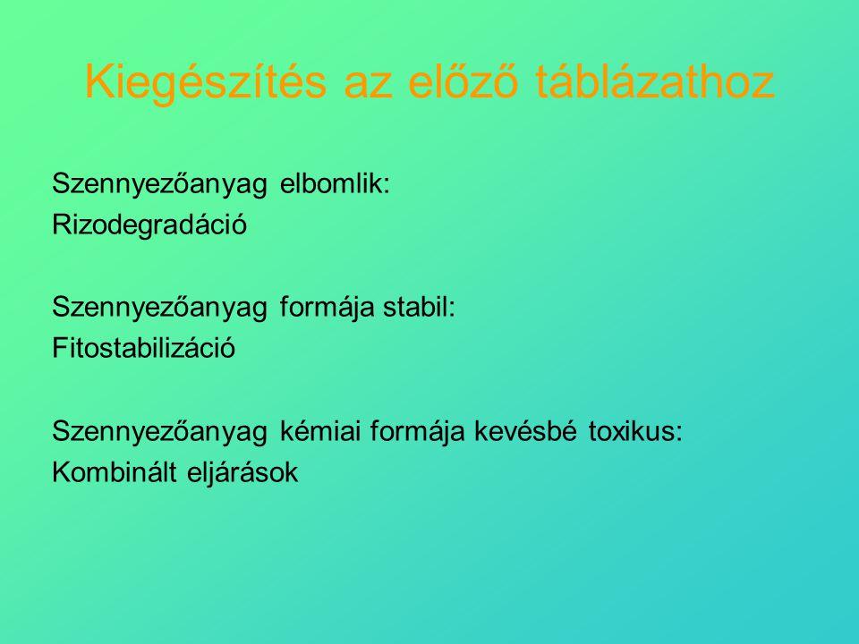 Kiegészítés az előző táblázathoz Szennyezőanyag elbomlik: Rizodegradáció Szennyezőanyag formája stabil: Fitostabilizáció Szennyezőanyag kémiai formája