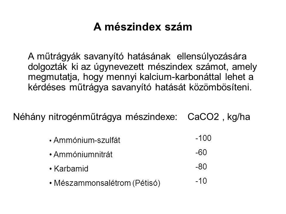 A mészindex szám A műtrágyák savanyító hatásának ellensúlyozására dolgozták ki az úgynevezett mészindex számot, amely megmutatja, hogy mennyi kalcium-karbonáttal lehet a kérdéses műtrágya savanyító hatását közömbösíteni.