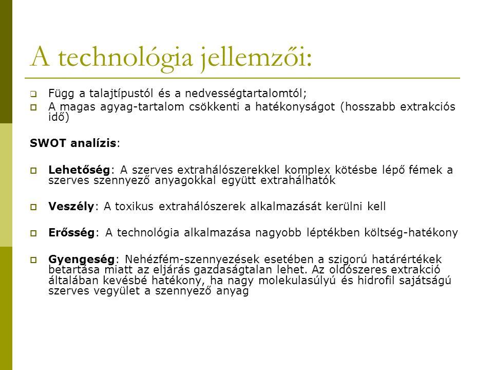 A technológia jellemzői:  Függ a talajtípustól és a nedvességtartalomtól;  A magas agyag-tartalom csökkenti a hatékonyságot (hosszabb extrakciós idő) SWOT analízis:  Lehetőség: A szerves extrahálószerekkel komplex kötésbe lépő fémek a szerves szennyező anyagokkal együtt extrahálhatók  Veszély: A toxikus extrahálószerek alkalmazását kerülni kell  Erősség: A technológia alkalmazása nagyobb léptékben költség-hatékony  Gyengeség: Nehézfém-szennyezések esetében a szigorú határértékek betartása miatt az eljárás gazdaságtalan lehet.