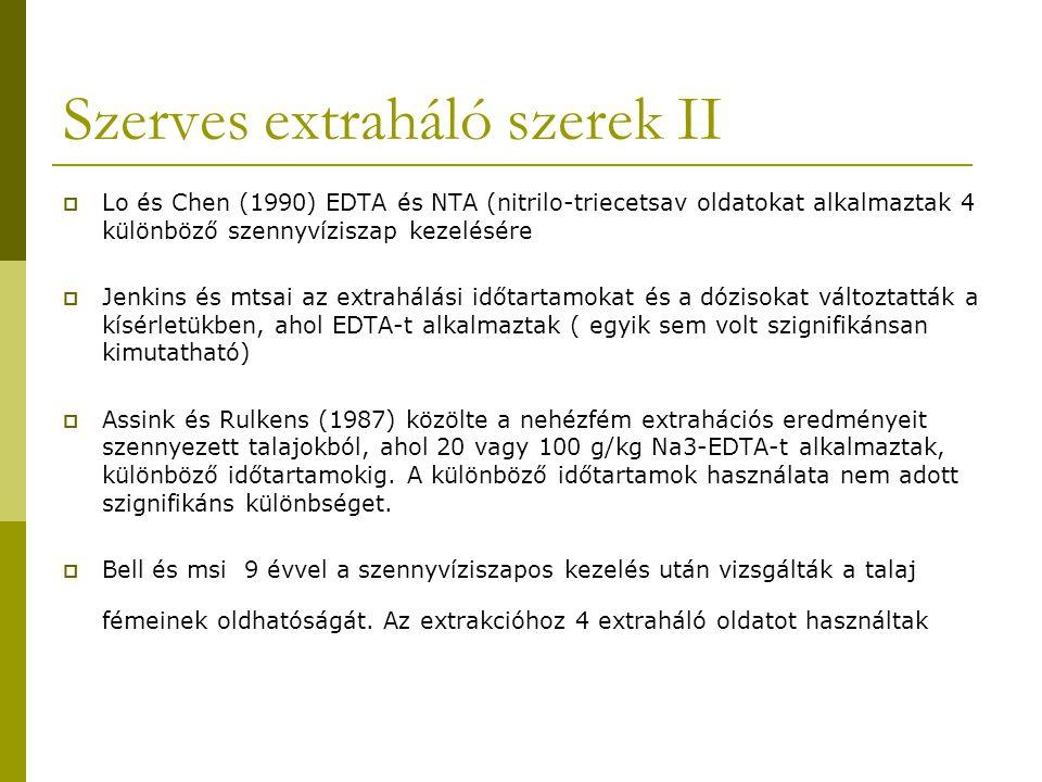 Alkalmazhatósági vizsgálat:  jellemző megoszlási koefficiensek a fémekre a talaj/víz rendszerben és ezeket befolyásoló tényezők  lehetséges fém extraháló szerek  extraháló szerek toxicitása és biodegradálhatósága  a talajban és az extraháló szerben maradó fémkoncentrációk összehasonlítása az elfogadható talaj nehézfém szintekkel és az oldatban lévő mikroorganizmusok tűrőképességével  technikai és gazdasági paraméterek