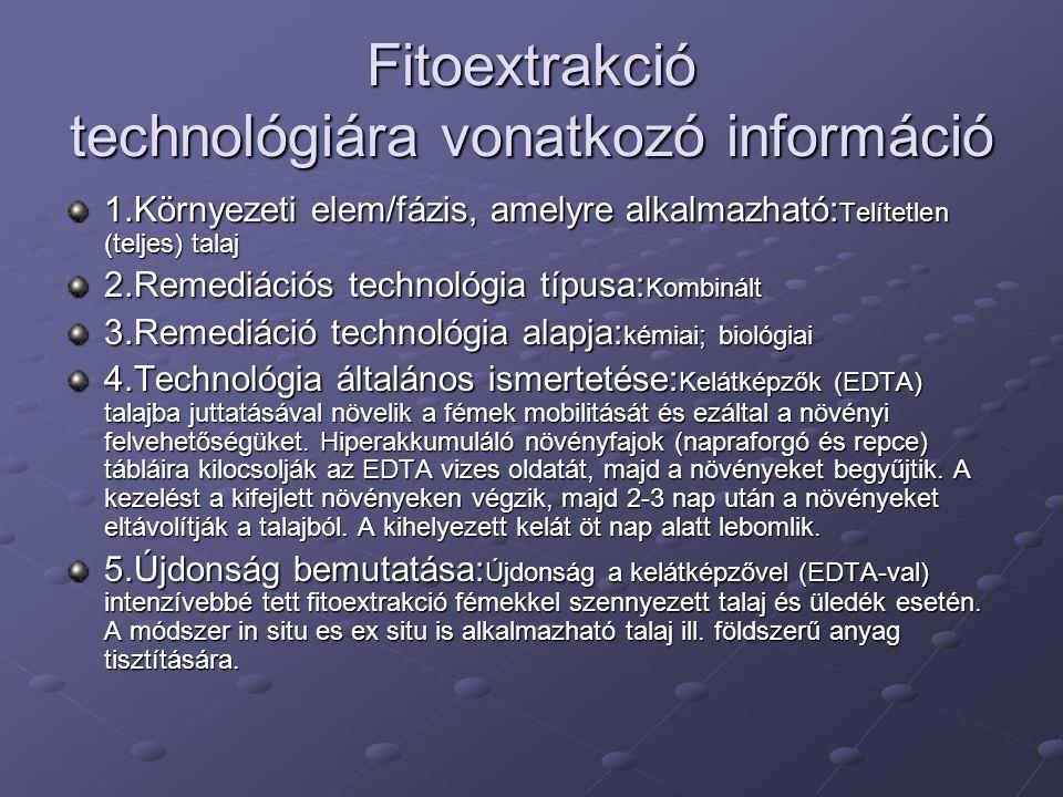 Fitoextrakció technológiára vonatkozó információ 1.Környezeti elem/fázis, amelyre alkalmazható: Telítetlen (teljes) talaj 2.Remediációs technológia típusa: Kombinált 3.Remediáció technológia alapja: kémiai; biológiai 4.Technológia általános ismertetése: Kelátképzők (EDTA) talajba juttatásával növelik a fémek mobilitását és ezáltal a növényi felvehetőségüket.