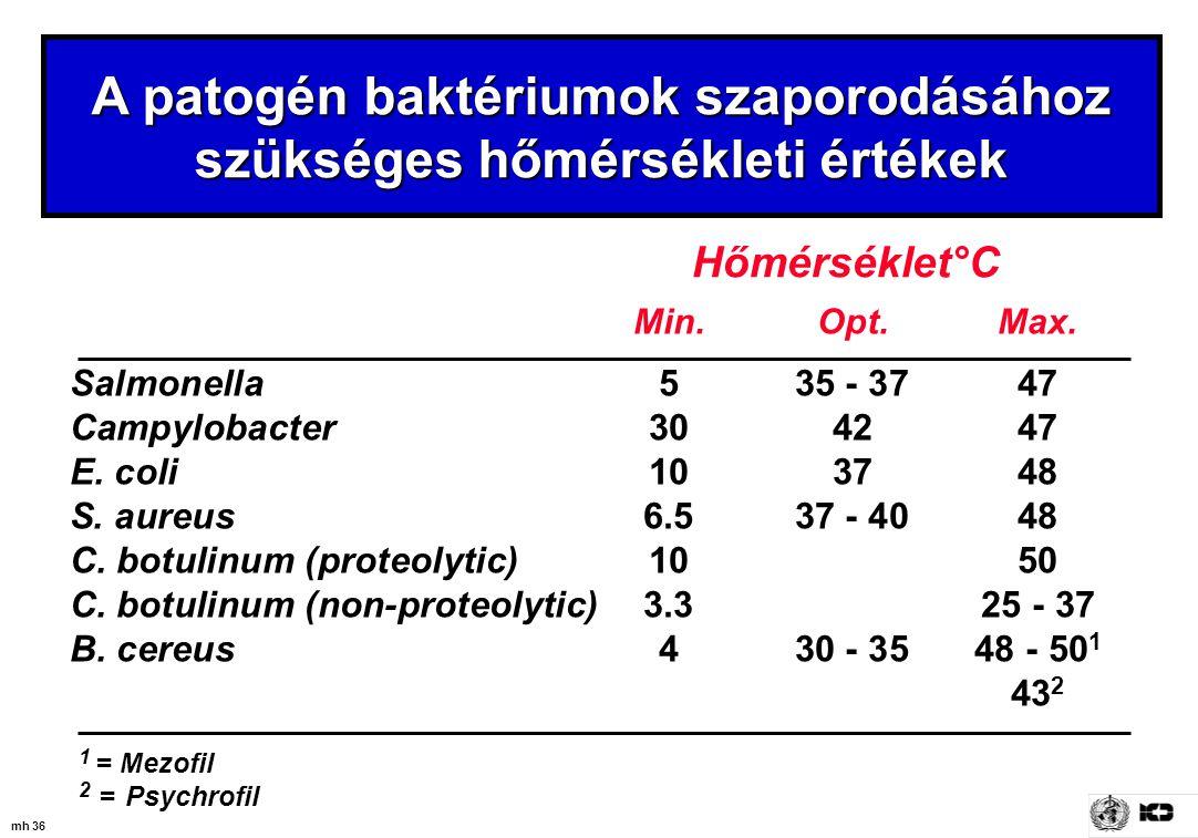 mh 36 A patogén baktériumok szaporodásához szükséges hőmérsékleti értékek Hőmérséklet°C Min.Opt.Max. Salmonella 535 - 3747 Campylobacter 304247 E. col