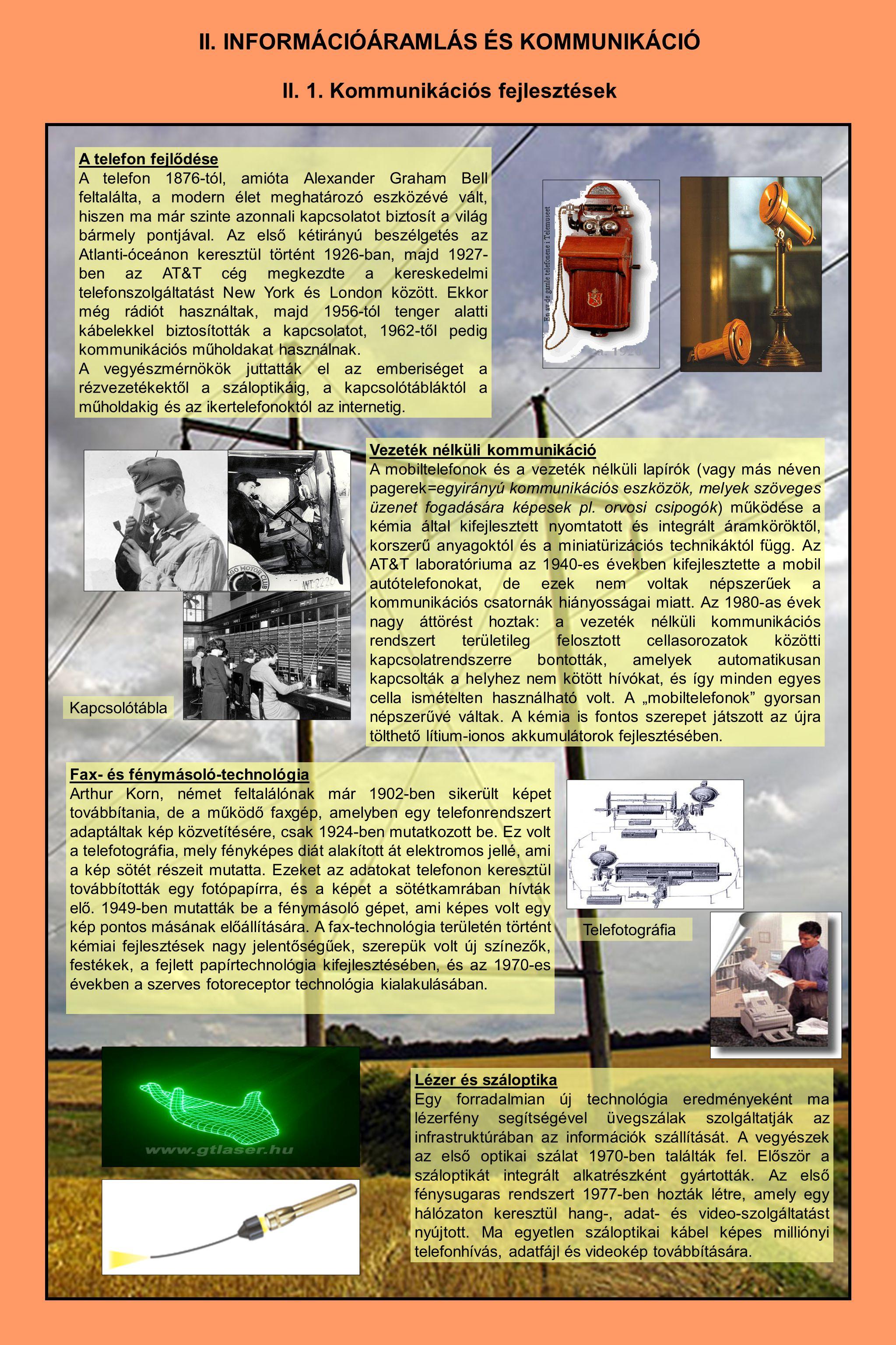 II. 1. Kommunikációs fejlesztések A telefon fejlődése A telefon 1876-tól, amióta Alexander Graham Bell feltalálta, a modern élet meghatározó eszközévé