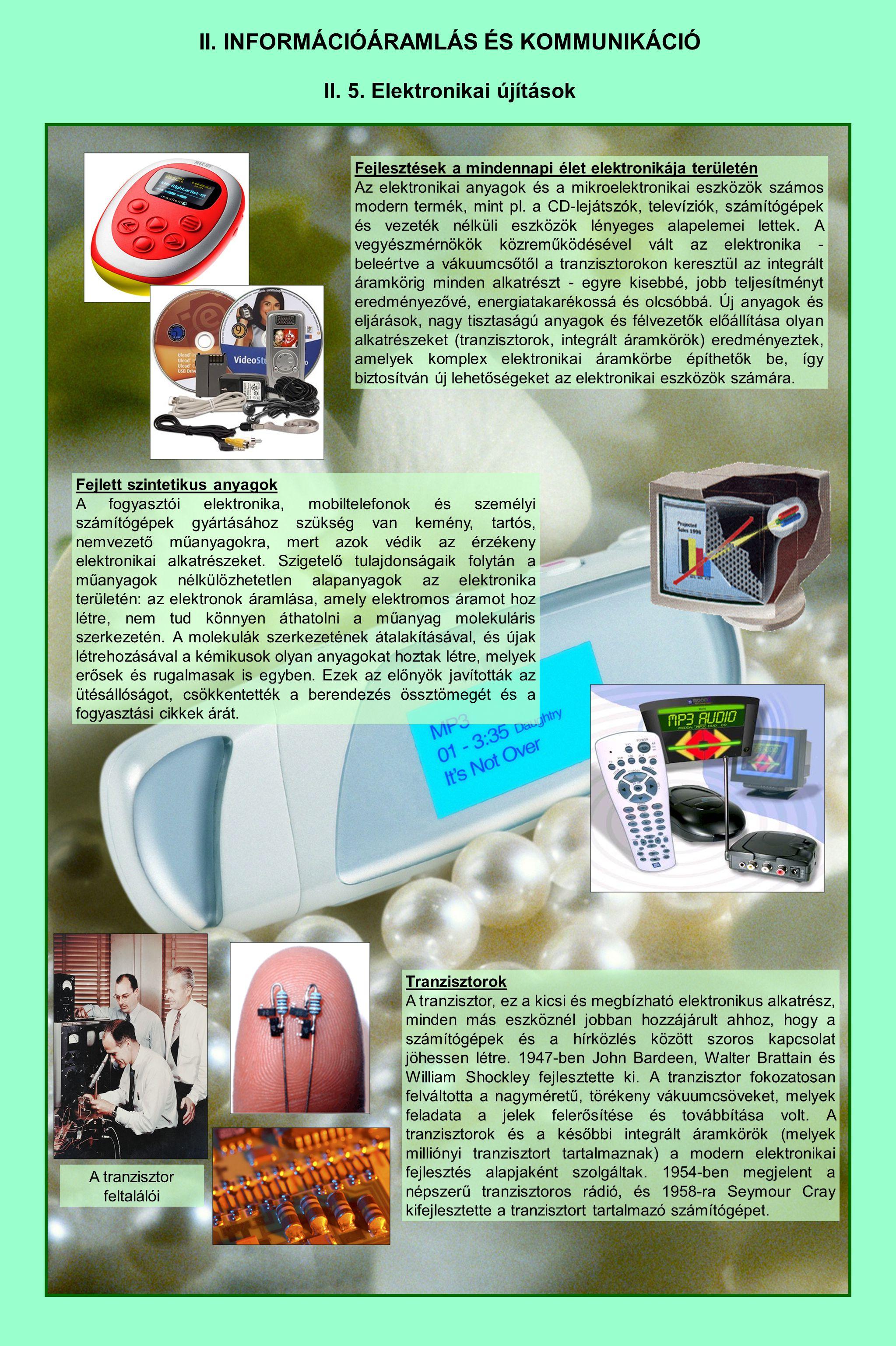 II. INFORMÁCIÓÁRAMLÁS ÉS KOMMUNIKÁCIÓ II. 5. Elektronikai újítások Fejlesztések a mindennapi élet elektronikája területén Az elektronikai anyagok és a