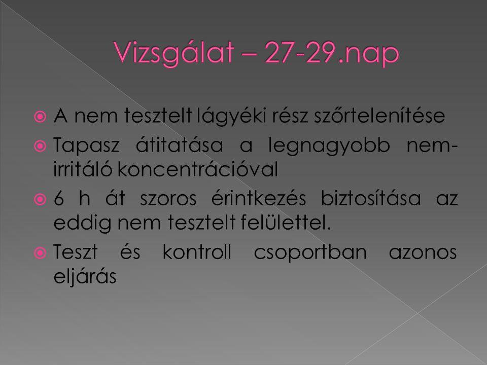  A nem tesztelt lágyéki rész szőrtelenítése  Tapasz átitatása a legnagyobb nem- irritáló koncentrációval  6 h át szoros érintkezés biztosítása az eddig nem tesztelt felülettel.