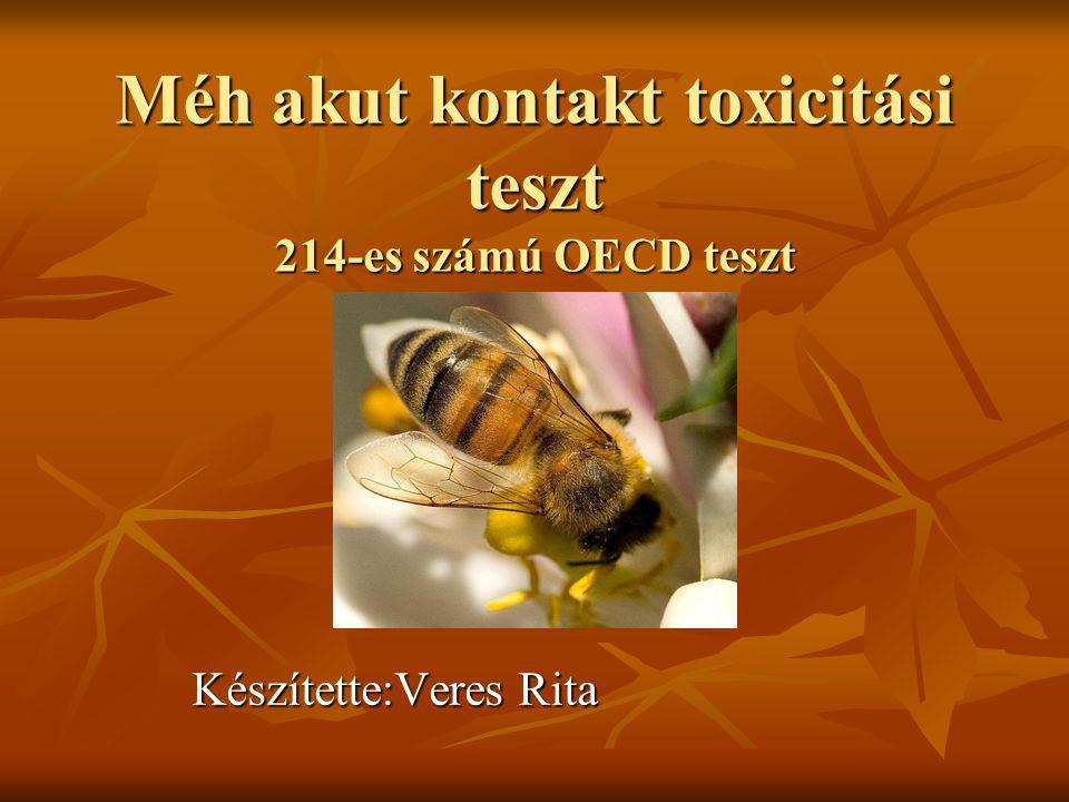 Méh akut kontakt toxicitási teszt 214-es számú OECD teszt Készítette:Veres Rita
