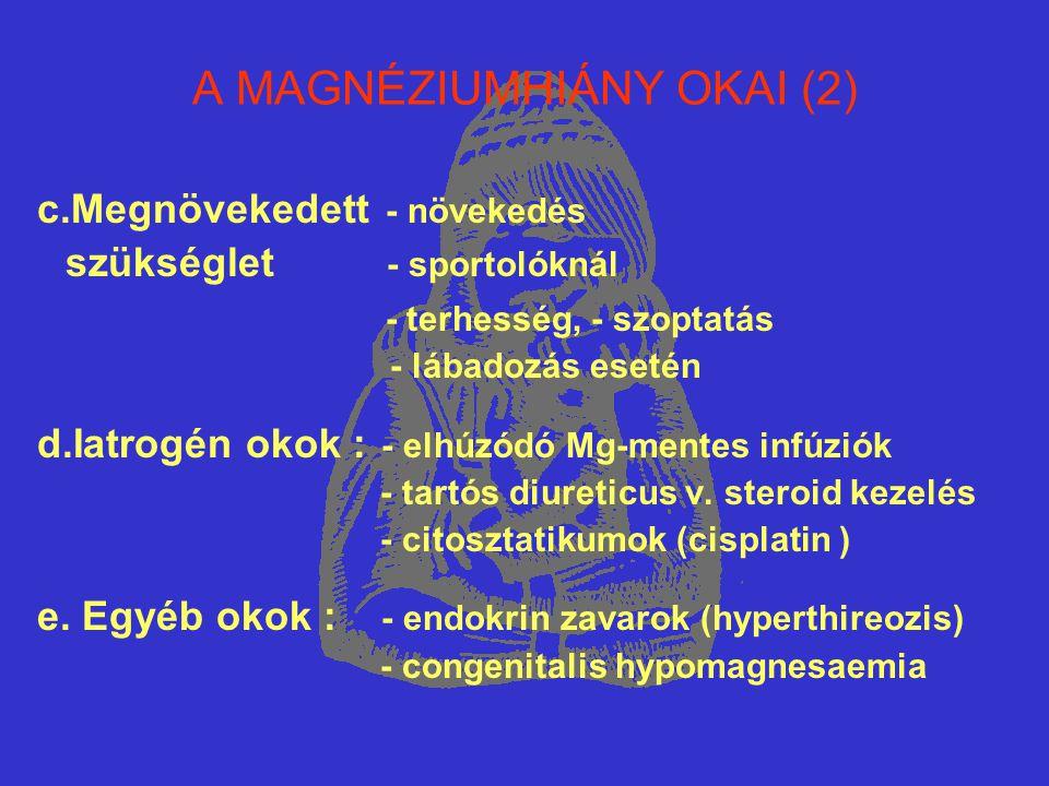 A MAGNÉZIUMHIÁNY OKAI (2) c.Megnövekedett - növekedés szükséglet - sportolóknál - terhesség, - szoptatás - lábadozás esetén d.Iatrogén okok : - elhúzó