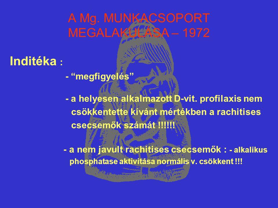 """A Mg. MUNKACSOPORT MEGALAKULÁSA – 1972 Inditéka : - """"megfigyelés"""" - a helyesen alkalmazott D-vit. profilaxis nem csökkentette kívánt mértékben a rachi"""
