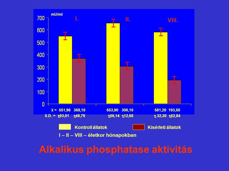 x = 551,96 368,10 653,90 306,10 581,20 193,50 S.D. = +93,01 +48,79 +56,14 +12,68 + 32,30 +52,84 mU/ml Kontroll állatokKisérleti állatok Alkalikus phos