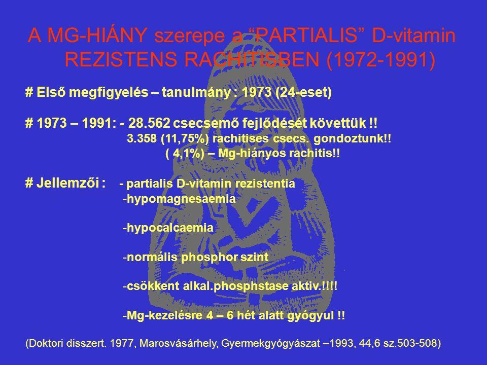 """A MG-HIÁNY szerepe a """"PARTIALIS"""" D-vitamin REZISTENS RACHITISBEN (1972-1991) # Első megfigyelés – tanulmány : 1973 (24-eset) # 1973 – 1991: - 28.562 c"""