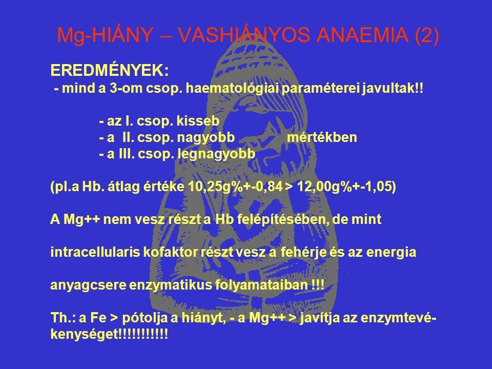 Mg-HIÁNY – VASHIÁNYOS ANAEMIA (2) EREDMÉNYEK: - mind a 3-om csop. haematológiai paraméterei javultak!! - az I. csop. kisseb - a II. csop. nagyobb mért