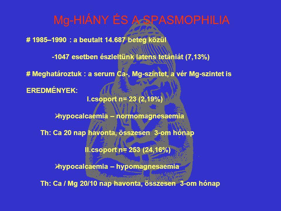 Mg-HIÁNY ÉS A SPASMOPHILIA # 1985–1990 : a beutalt 14.687 beteg közül -1047 esetben észleltünk latens tetániát (7,13%) # Meghatároztuk : a serum Ca-,