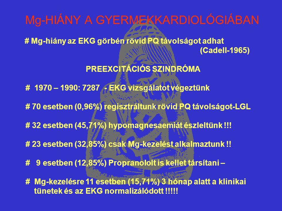 Mg-HIÁNY A GYERMEKKARDIOLÓGIÁBAN # Mg-hiány az EKG görbén rövid PQ távolságot adhat (Cadell-1965) PREEXCITÁCIÓS SZINDRÓMA # 1970 – 1990: 7287 - EKG vi