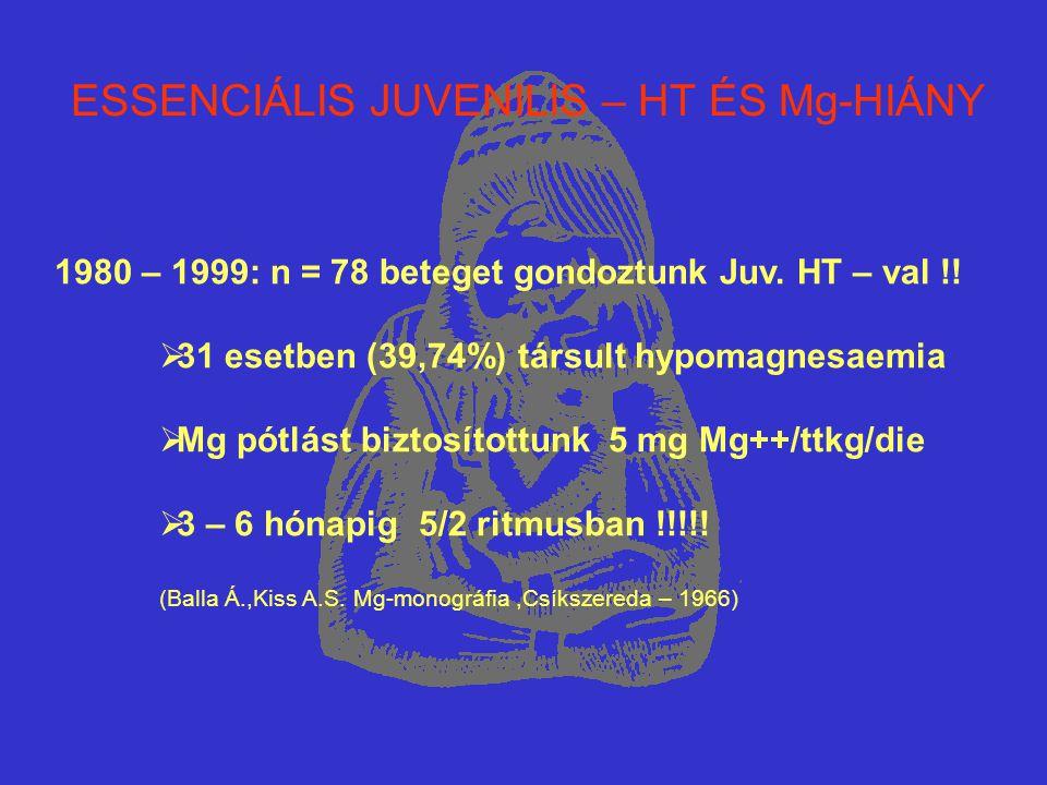 ESSENCIÁLIS JUVENILIS – HT ÉS Mg-HIÁNY 1980 – 1999: n = 78 beteget gondoztunk Juv. HT – val !!  31 esetben (39,74%) társult hypomagnesaemia  Mg pótl