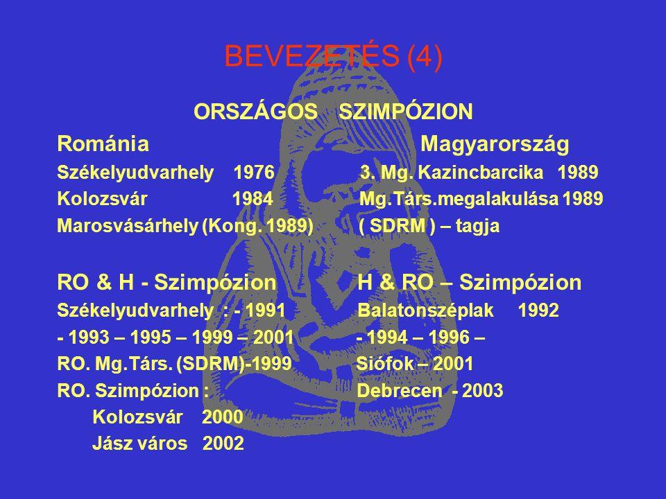 BEVEZETÉS (4) ORSZÁGOS SZIMPÓZION Románia Magyarország Székelyudvarhely 1976 3. Mg. Kazincbarcika 1989 Kolozsvár 1984 Mg.Társ.megalakulása 1989 Marosv