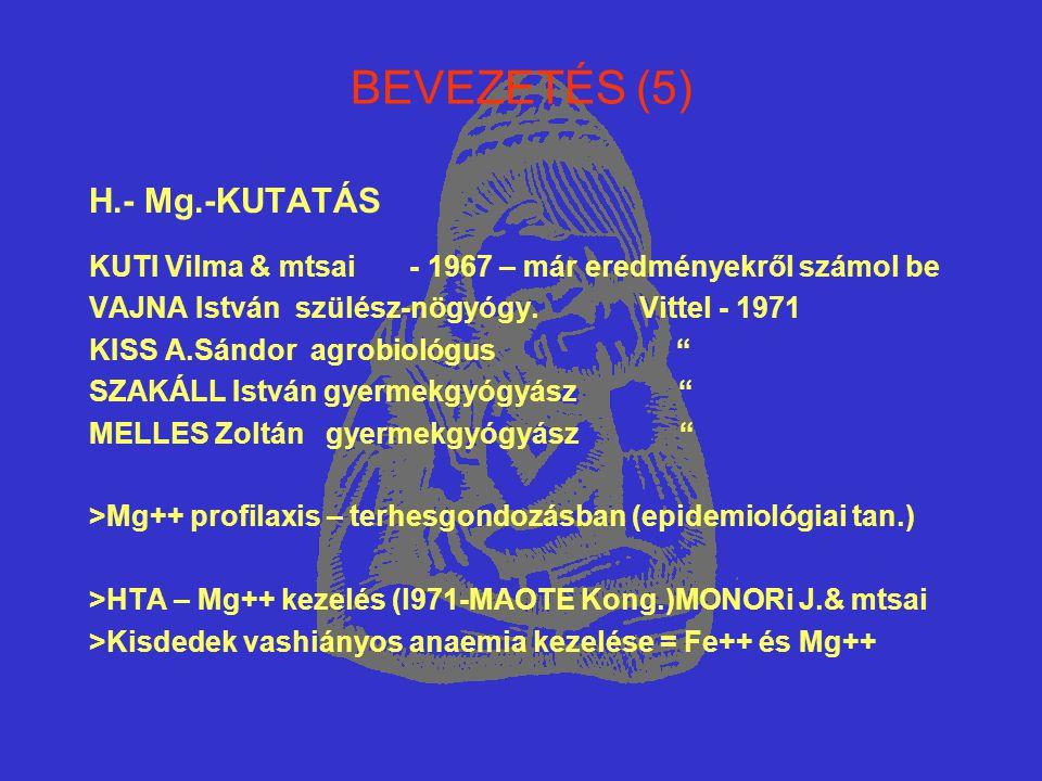 BEVEZETÉS (5) H.- Mg.-KUTATÁS KUTI Vilma & mtsai - 1967 – már eredményekről számol be VAJNA István szülész-nögyógy. Vittel - 1971 KISS A.Sándor agrobi