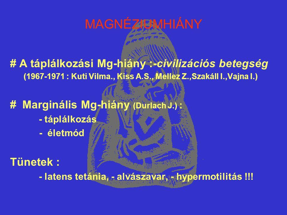 Mg és LÉGZŐSZERVI BETEGSÉGEK (5) OBSTRUCTIV BRONCHITIS ÉS/VAGY ASTHMA BRONCHIALE–NORMO- ÉS HYPOMAGNESAEMIÁVAL 1982 – 1998 n = 19.365 n= 2.998 n= 349 100% 15,48% 11,64% Beutalt betegek Obstructiv bronch.
