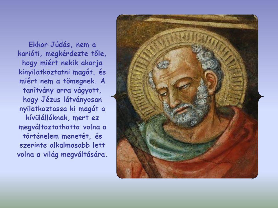 Ekkor Júdás, nem a karióti, megkérdezte tőle, hogy miért nekik akarja kinyilatkoztatni magát, és miért nem a tömegnek.
