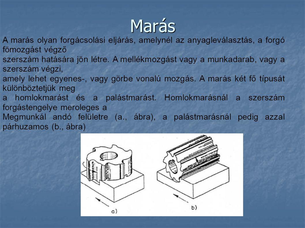 Marás A marás olyan forgácsolási eljárás, amelynél az anyagleválasztás, a forgó fömozgást végző szerszám hatására jön létre. A mellékmozgást vagy a mu
