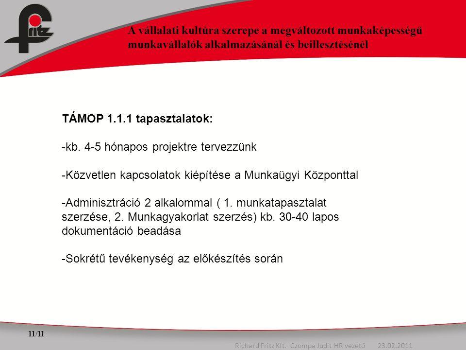 11/11 Richard Fritz Kft. Czompa Judit HR vezető 23.02.2011 A vállalati kultúra szerepe a megváltozott munkaképességű munkavállalók alkalmazásánál és b