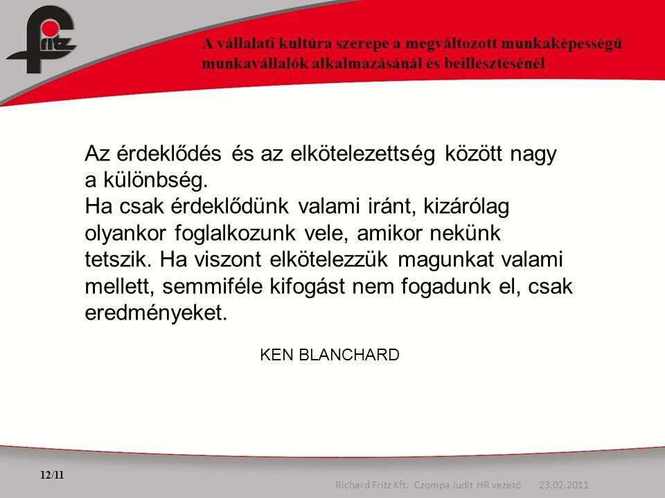 12/11 A vállalati kultúra szerepe a megváltozott munkaképességű munkavállalók alkalmazásánál és beillesztésénél Richard Fritz Kft. Czompa Judit HR vez