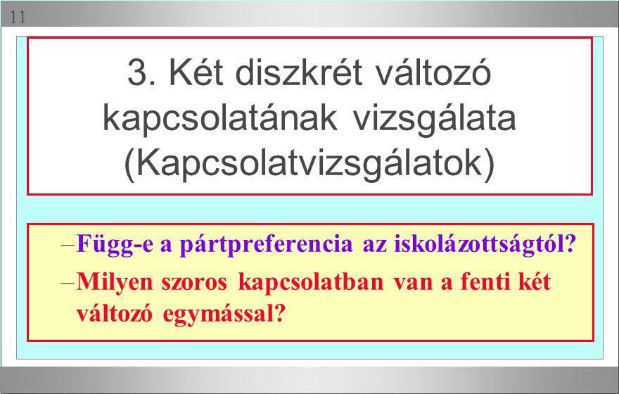  –Függ-e a pártpreferencia az iskolázottságtól? –Milyen szoros kapcsolatban van a fenti két változó egymással? 3. Két diszkrét változó kapcsolatának
