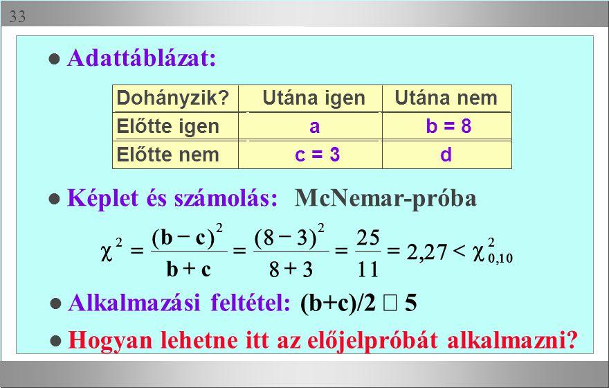  l Adattáblázat: l Képlet és számolás: McNemar-próba Alkalmazási feltétel: (b+c)/2  5 l Hogyan lehetne itt az előjelpróbát alkalmazni? Dohányzik?Ut