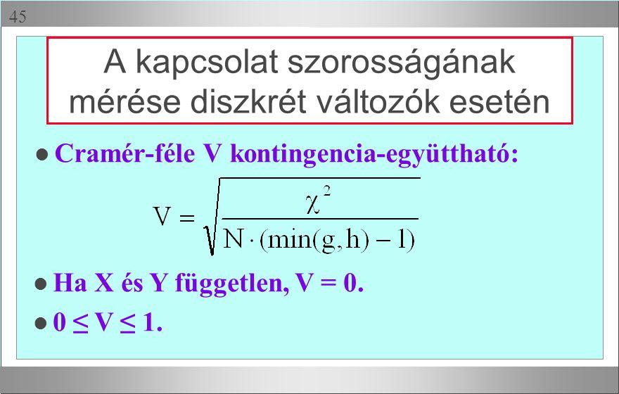  A kapcsolat szorosságának mérése diszkrét változók esetén l Cramér-féle V kontingencia-együttható: l Ha X és Y független, V = 0. l 0 ≤ V ≤ 1.