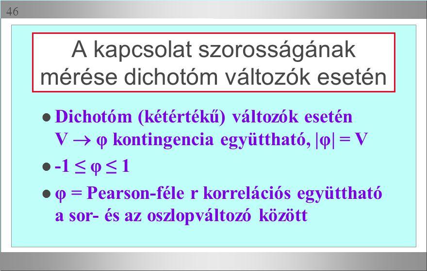  A kapcsolat szorosságának mérése dichotóm változók esetén l Dichotóm (kétértékű) változók esetén V  φ kontingencia együttható, |φ| = V l -1 ≤ φ ≤