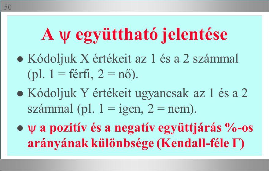  A  együttható jelentése l Kódoljuk X értékeit az 1 és a 2 számmal (pl. 1 = férfi, 2 = nő). Kódoljuk Y értékeit ugyancsak az 1 és a 2 számmal (pl.