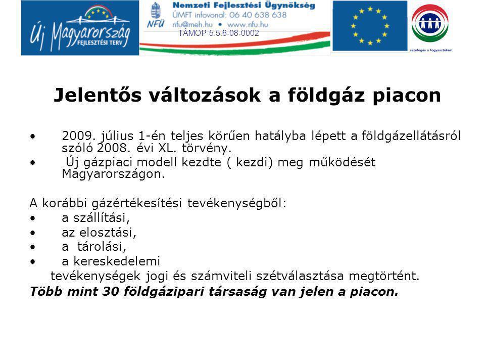 TÁMOP 5.5.6-08-0002 Jelentős változások a földgáz piacon 2009. július 1-én teljes körűen hatályba lépett a földgázellátásról szóló 2008. évi XL. törvé