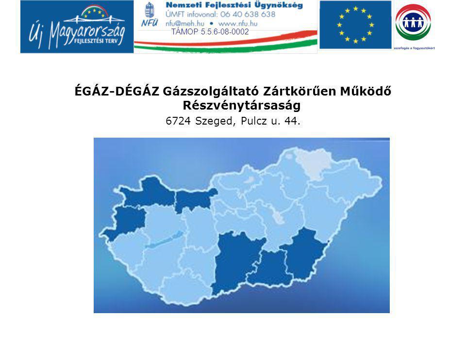 TÁMOP 5.5.6-08-0002 ÉGÁZ-DÉGÁZ Gázszolgáltató Zártkörűen Működő Részvénytársaság 6724 Szeged, Pulcz u.