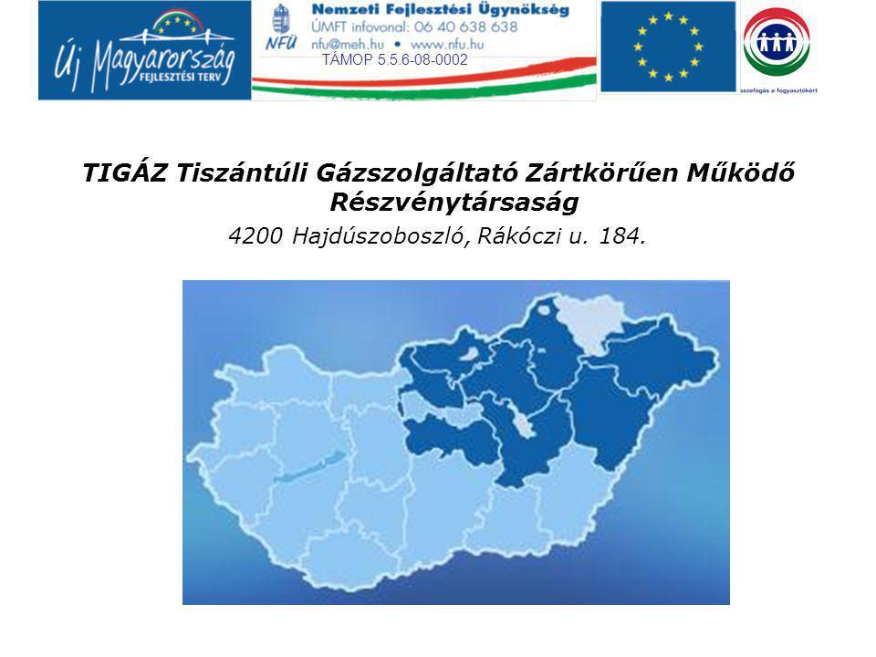 TÁMOP 5.5.6-08-0002 TIGÁZ Tiszántúli Gázszolgáltató Zártkörűen Működő Részvénytársaság 4200 Hajdúszoboszló, Rákóczi u. 184.
