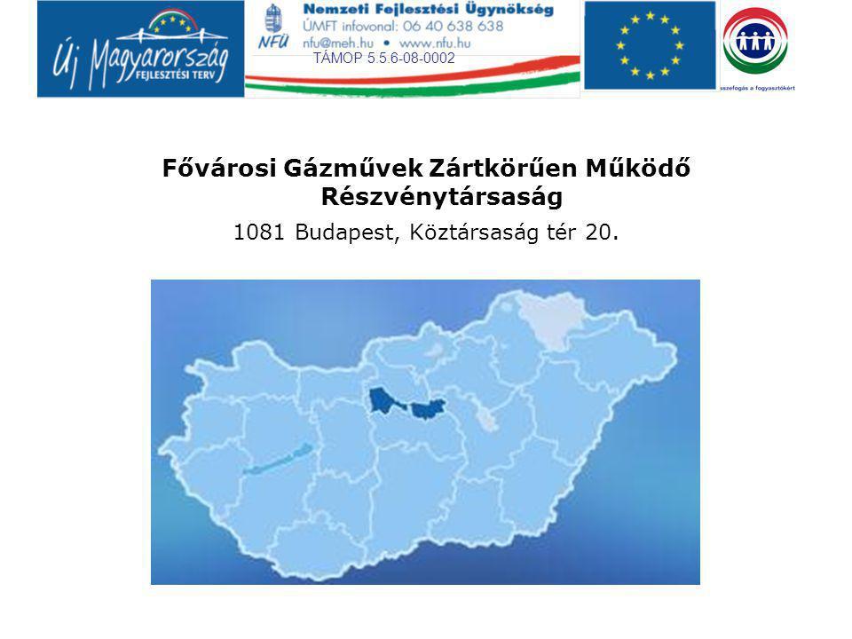 TÁMOP 5.5.6-08-0002 Fővárosi Gázművek Zártkörűen Működő Részvénytársaság 1081 Budapest, Köztársaság tér 20.