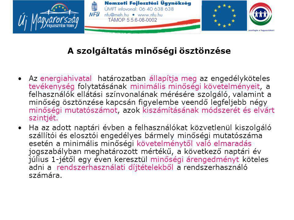 TÁMOP 5.5.6-08-0002 A szolgáltatás minőségi ösztönzése Az energiahivatal határozatban állapítja meg az engedélyköteles tevékenység folytatásának minim