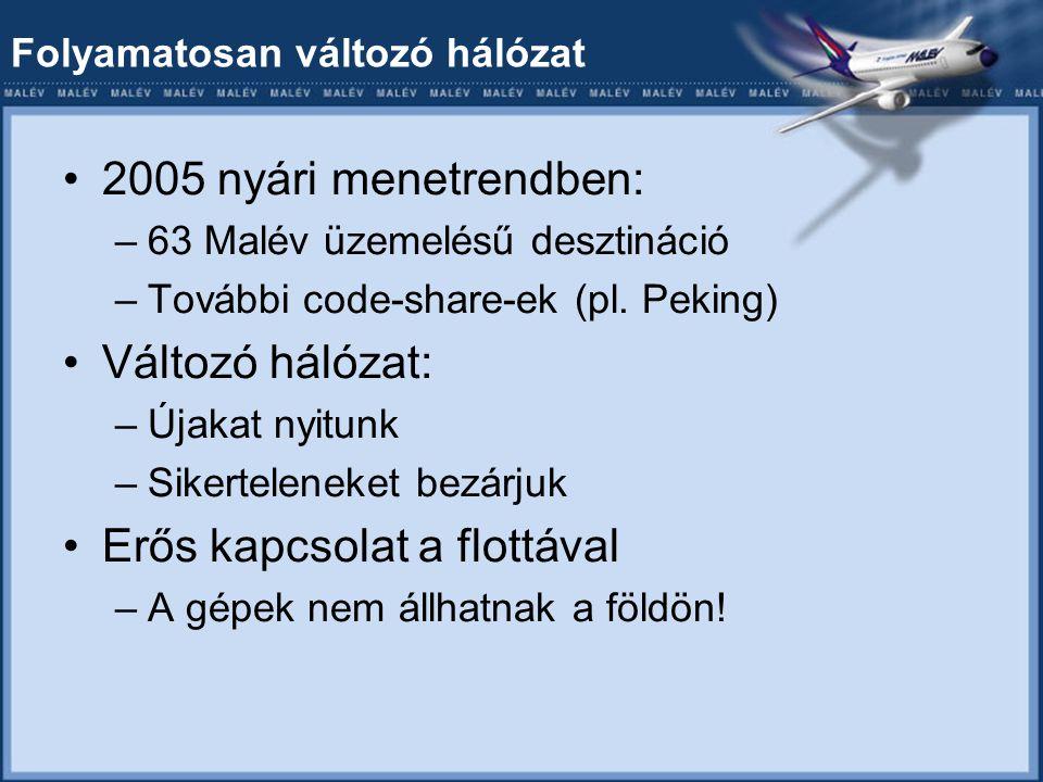 Folyamatosan változó hálózat 2005 nyári menetrendben: –63 Malév üzemelésű desztináció –További code-share-ek (pl.