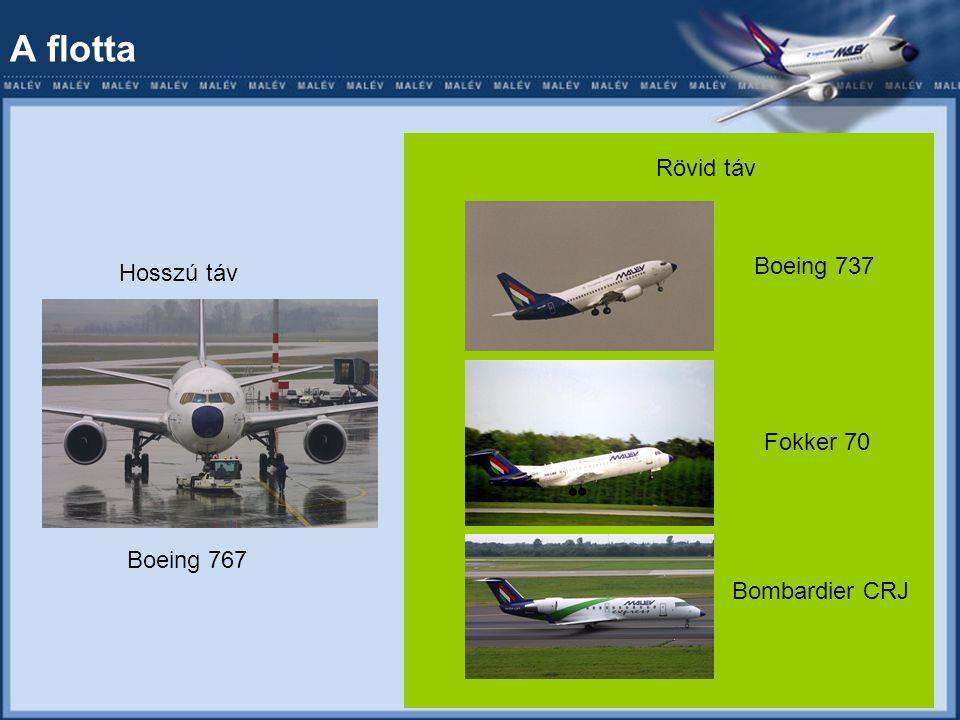 A flotta Hosszú táv Boeing 767 Rövid táv Boeing 737 Fokker 70 Bombardier CRJ