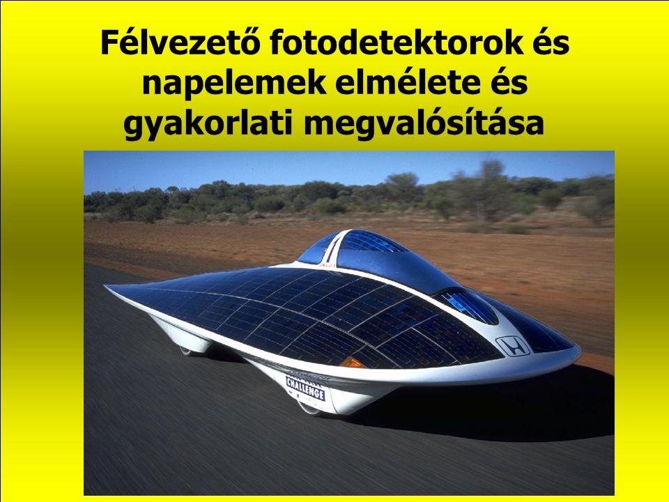 Félvezető fotodetektorok és napelemek elmélete és gyakorlati megvalósítása (Bevezetés) Habilitációs előadás dr.