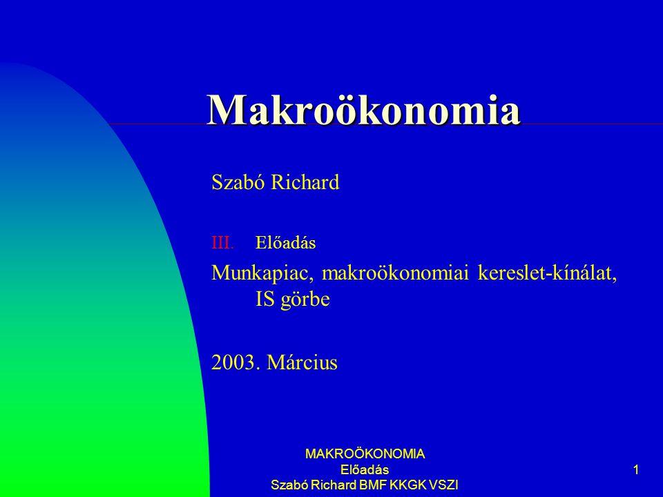 MAKROÖKONOMIA Előadás Szabó Richard BMF KKGK VSZI 1 Makroökonomia Szabó Richard III.Előadás Munkapiac, makroökonomiai kereslet-kínálat, IS görbe 2003.
